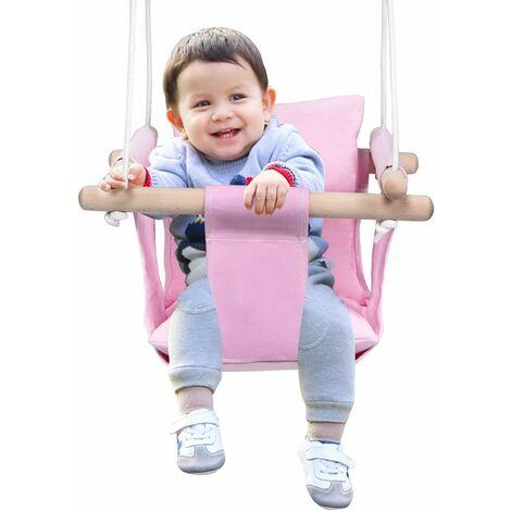 COSTWAY Babyschaukel Haengender Schwing Sitz Kinderschaukel Kinder Haengesessel Schaukel Holz fuer drinnen und draussen Rosa