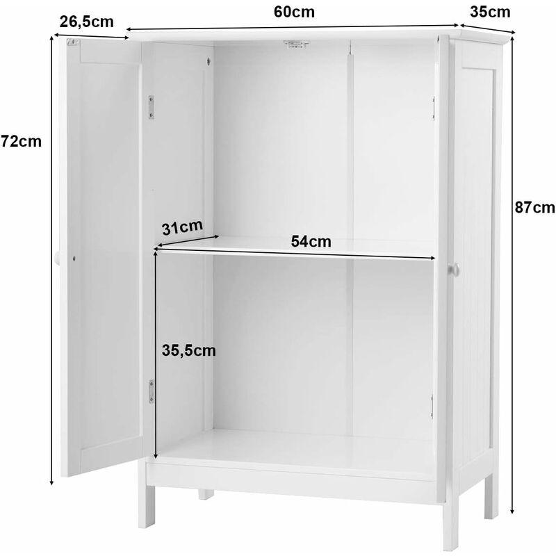COSTWAY Badezimmerschrank Kommode Sideboard Badschrank Verstellbarer  Einlegeboden Schrank Badezimmer Aufbewahrungsschrank, weiss