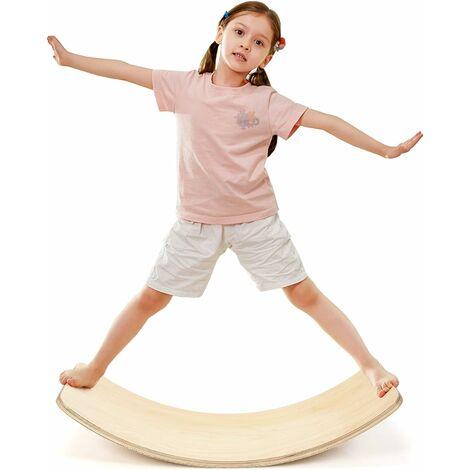 COSTWAY Balance Board Fitness en Bois Incurvée avec Feutre Charge 220KG pour Yoga,Sport pour Adultes et Enfants 90 x 30 x 19CM