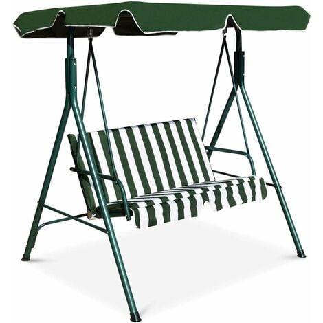 COSTWAY Balancelle de Jardin pour 2 Personnes sur Pied Résistant à L'UV avec Toit Imperméabilisant Idéal pour Jardin