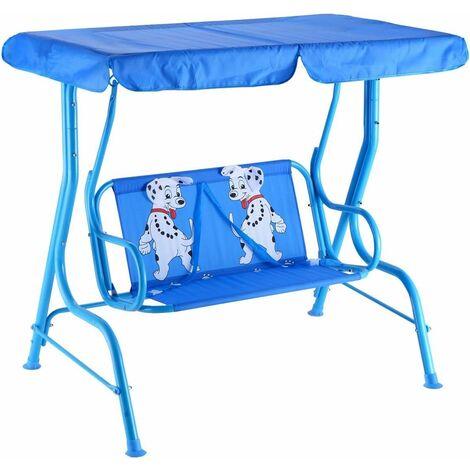 COSTWAY Balancelle de Jardin pour Enfants 2 Places,Toit Anti-UV Balançoire Jardin pour Enfants Chaise Bascule 112 x 75 x 108 cm Bleu