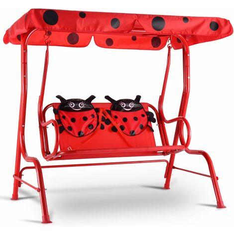 COSTWAY Balancelle de Jardin pour Enfants 2 Places,Toit Anti-UV Balançoire Jardin pour Enfants Chaise Bascule pour EnfantsRouge