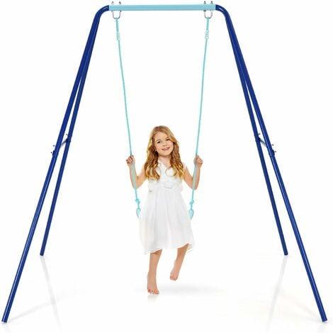 COSTWAY Balancoire avec Portique pour Enfant 1,66 m - Structure en Métal Robuste Siège Résista