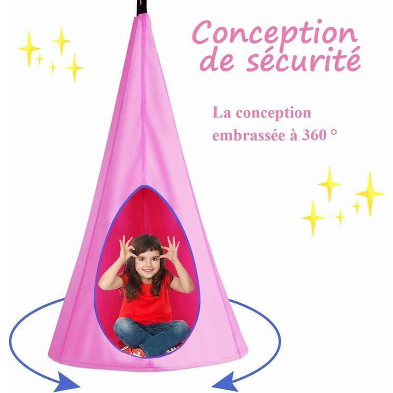 COSTWAY Balançoire Nid d'Oiseau pour Enfant, Crochet et Corde Charge Max.115KG (Rose)