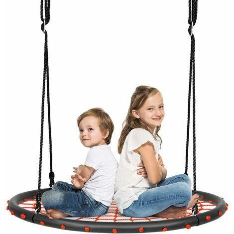 COSTWAY balan?oire nid d'oiseau rond 100cm balan?oire d'arbre en plein air pour enfants charge maximale 150 kg extérieur noir corde réglable 100-160cm