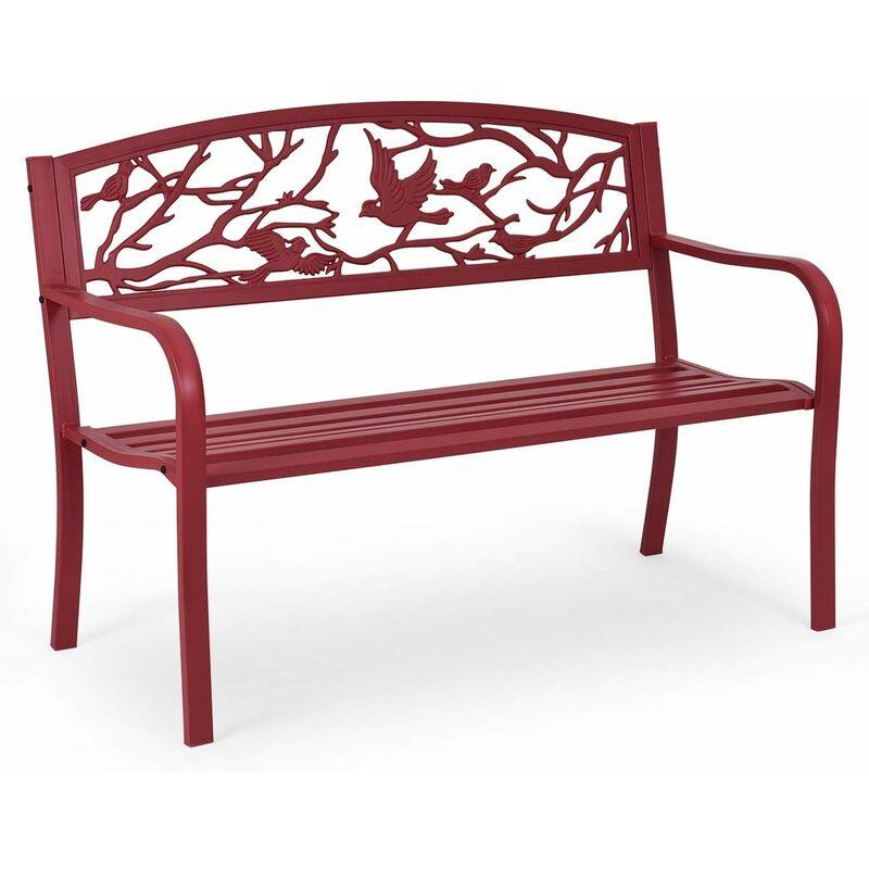 COSTWAY Banc de Jardin Structure Stable Banquette de Jardin Motif Oiseaux et Branches - pour Parc Terrasse Balcon 123 x 60 x 88 cm Rouge