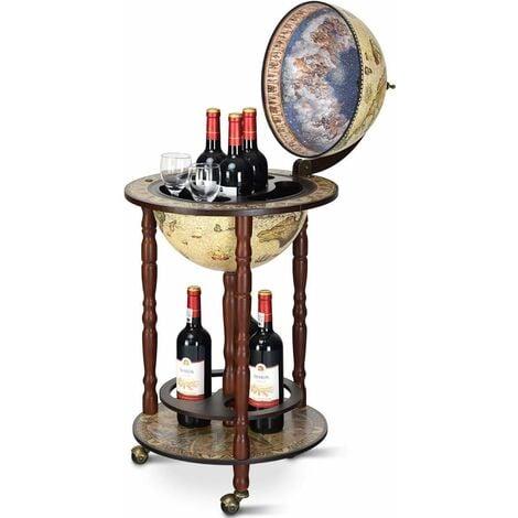 COSTWAY Bar Globe Terrestre Mappemonde en Bois d'Eucalyptus pour Vin et Verre Cabinet Boissons Bouteille 44,3x44,3x88cm
