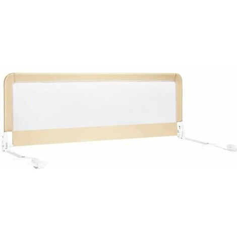 COSTWAY Barrière de Lit Pliable pour Bébé/Enfant 150x55CM en Tissu Oxford Angle 0°-180°avec Mousse Souple, Trous Pré-percés Beige