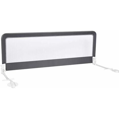COSTWAY Barrière de Lit Pliable pour Bébé/Enfant 150x55CM en Tissu Oxford Angle 0°-180°avec Mousse Souple, Trous Pré-percés Gris