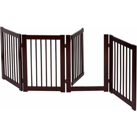 COSTWAY Barrière de Sécurité Grille Protection pour Animaux Cheminée Escalier en Pin