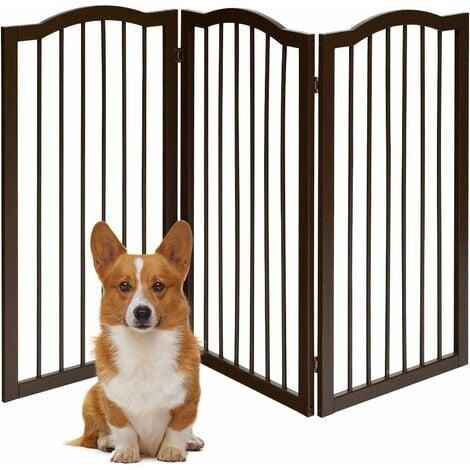 COSTWAY Barrière de Sécurité Porte pour Animaux,3 Pans Grille Protection Modulable Pliable Cheminée Escalier en Bois Pin 51-153 x 93CM