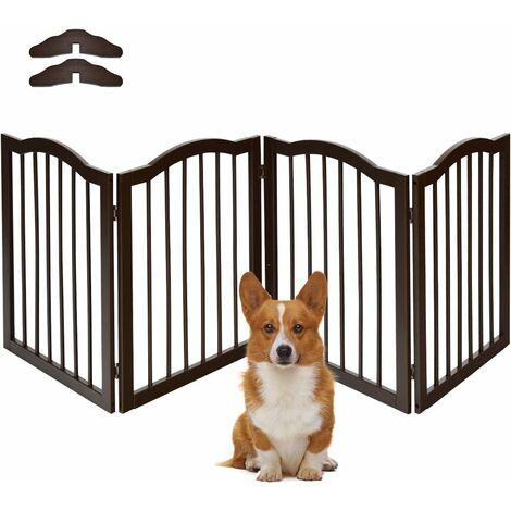 COSTWAY Barrière de Sécurité Porte pour Animaux,4 Pans Grille Protection Modulable Pliable Cheminée Escalier en Bois Pin 51-204 x 61CM