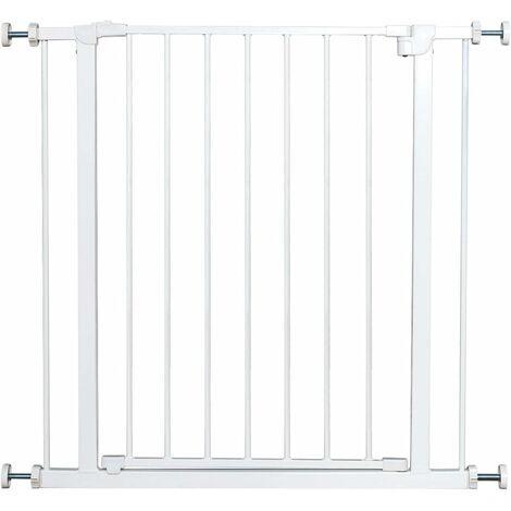 COSTWAY Barrière de Sécurité pour Animaux à Pression en Métal sans Perçage avec Porte Rotative à 180° 76 x 77CM Blanc