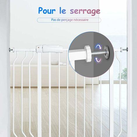 COSTWAY Barrière de Sécurité pour Porte en Métal et ABS Longueur Réglable 74-98CM Montage sous Pression sans Outils pour Bébés ou Animaux