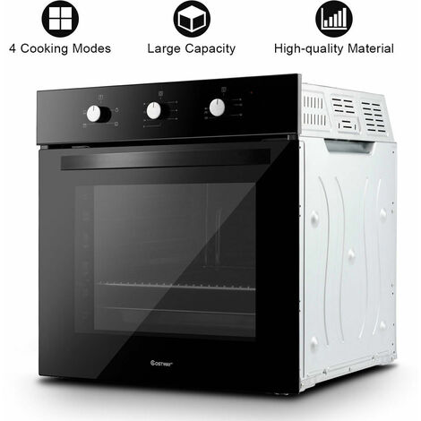 COSTWAY Basic Built-in Single Electric Fan Oven Tempered Glass 4 Model 71L Black