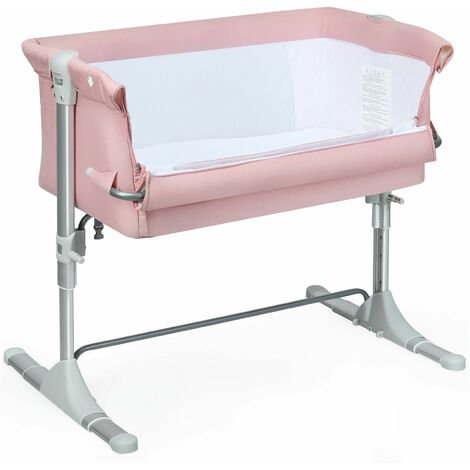 COSTWAY Bedside Sleeping Crib, Height Adjustable Baby Play Pen with Toy Rack, Music Box,Side Sleeper Travel Cot for Newborn Toddler Pink
