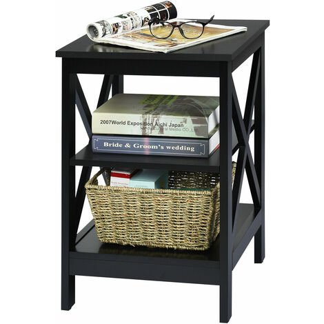 COSTWAY Bedside Table, Multifunctional Nightstand Storage Unit with 3 Shelves, Living Room Bedroom Sofa Side End Table Black
