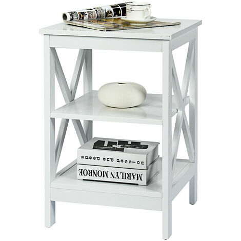 COSTWAY Bedside Table, Multifunctional Nightstand Storage Unit with 3 Shelves, Living Room Bedroom Sofa Side End Table White