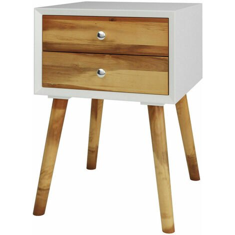 COSTWAY Bedside Table, Solid Wood Legs Night Stand Cabinet Unit with 2 Storage Drawers, Home Office Bedroom Living Room Retro Sofa Side End Table