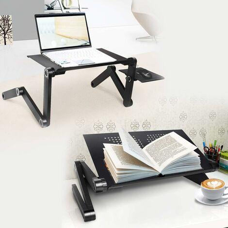 COSTWAY Betttablett Laptoptisch mit Mausablage, klappbar Notebooktisch fürs Bett, Betttisch für Laptop,aus Alu, Laptoptablett schwarz, Laptopst?nder