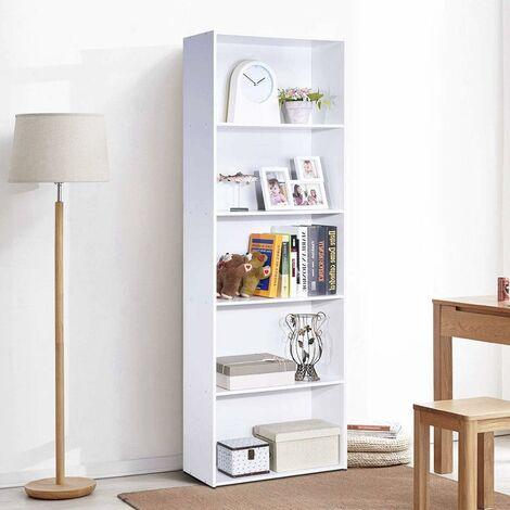 COSTWAY Bibliothèque avec Etagères de Rangement pour Livres en MDF pour Bureau,Salon, Salle de Travail 60 × 24 × 169 CM (Blanc)