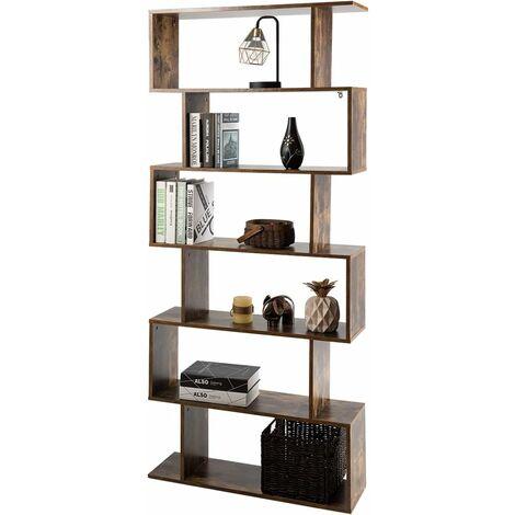 COSTWAY Bibliothèque Étagère pour Livres meuble de rangement à 6 Niveaux de Style Industriel Simple 80x23x192 CM Marron