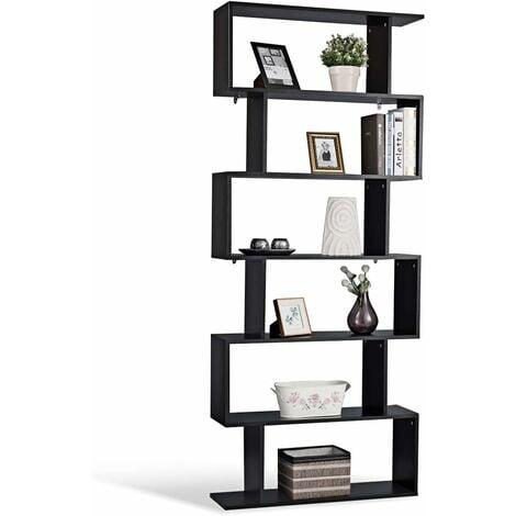 Costway Bibliotheque Etagere Pour Livres Meuble Rangement De 6 Niveaux Contemporaine Noir En Bois 80x23x192cm Hw59445bk