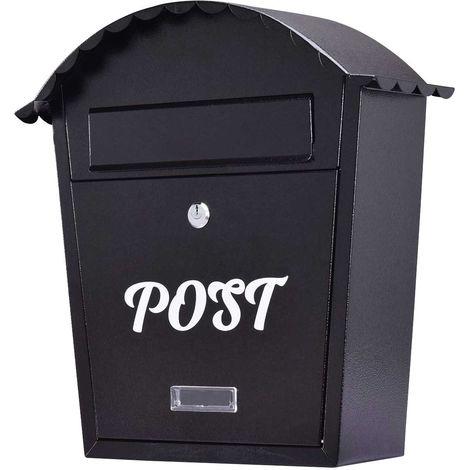COSTWAY Briefkasten mit Namensschild und 2 Schluessel, Wandbriefkasten Wetterfest, Postkasten Schwarz, Mailbox Letterbox