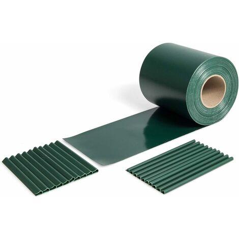 COSTWAY Brise-Vue en PVC 35Mx19CM 630g/m² avec 20 Clips de Fixation pour Jardin Protection de la Vie Privée Vert Foncé
