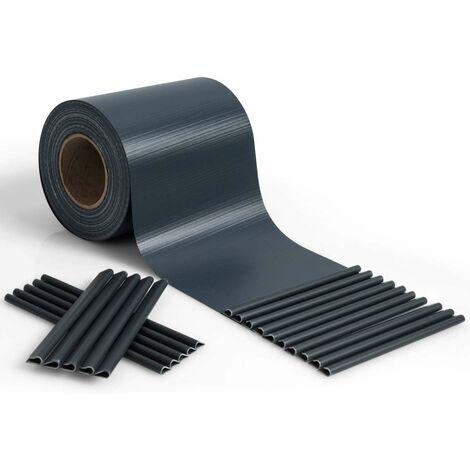 COSTWAY Brise Vue en PVC avec Clips de Fixation pour Jardin Protection de la Vie Privée (35M-450g/m², Gris foncé)