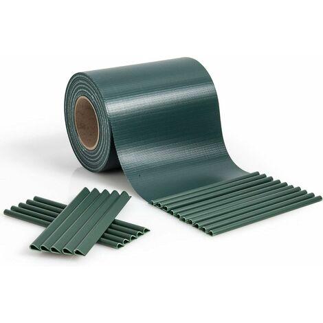 COSTWAY Brise Vue en PVC avec Clips de Fixation pour Jardin Protection de la Vie Privée (35M-450g/m², Vert foncé)