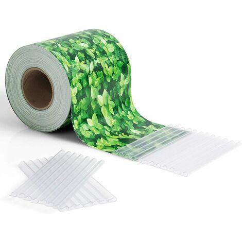 COSTWAY Brise Vue en PVC avec Clips de Fixation pour Jardin Protection de la Vie Privée (50M-450g/m², Feuille Verte)