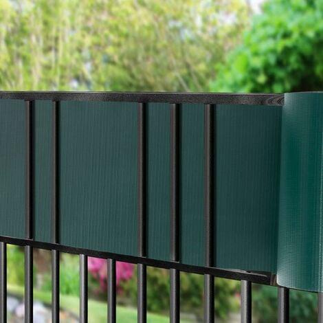 COSTWAY Brise Vue en PVC avec Clips de Fixation pour Jardin Protection de la Vie Privée (50M-450g/m², Vert foncé)