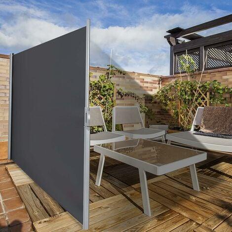 COSTWAY Brise Vue Rétractable 300x 160CM en Aluminium Store Latéral pour Balcon Terrasse Jardin Bureau Tissu en Polyester Gris