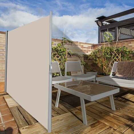 COSTWAY Brise Vue Rétractable 300x 180CM en Aluminium Store Latéral pour Balcon Terrasse Jardin Bureau Tissu en Polyester Beige