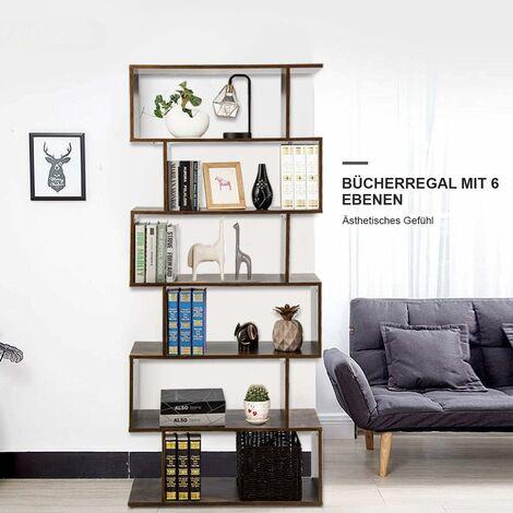 COSTWAY Bücherregal Holz, Standregal mit 6 Ebenen, Aktenregal für Pflanzen & Bücher, Wandregal inkl. Befestigungsmaterial, Aufbewahrungsregal S-Form, Büroregal braun