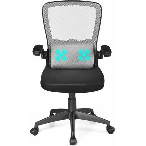 COSTWAY Buerostuhl mit Massagefunktion, Schreibtischstuhl hoehenverstellbar, Drehstuhl ergonomisch, Computerstuhl mit hochklappbaren gepolsterten Armlehnen grau