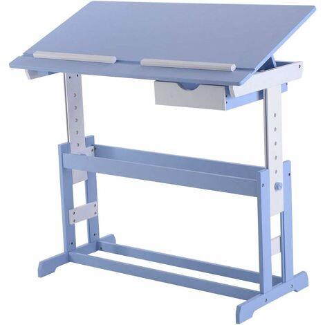 COSTWAY Bureau Enfant Ecolier plateau Inclinable Hauteur Réglable avec Tiroir Etude Dessin Lecture 109x55x(62-88)cm Bleu