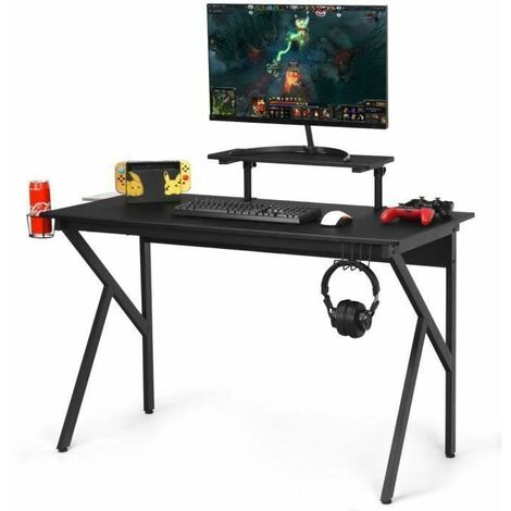 COSTWAY Bureau Gamer avec Surface en Fibre de Carbone PVC et Etagère Surélevée Réglable, Jambe en Forme K, 120 x 55 x 90,5-99,5 cm