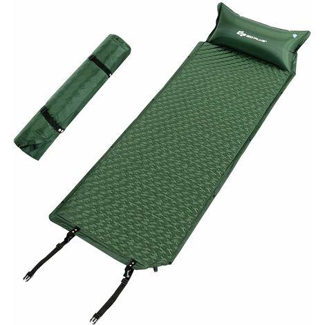 COSTWAY Camping Schlafmatte, Schlafunterlage selbstaufblasbar, Campingmatte aus Schaumstoff, Luftmatratze mit Kissen und Tragetasche, Isomatten Ideal für Camping, Wandern und Reisen, gruen