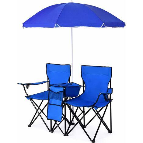 COSTWAY Campingstuhl mit Sonnenschirm, Klappstuhl fuer Paare, Doppel Angelstuhl faltbar mit Getraenkehalter Kuehltasche