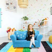 Costway Canapé Lit Enfant Fauteuil Sofa Enfant En Peluche De Corail Avec 2 Oreillers Forme De Fraise Bleu 2 Places Pour Dormir Et Jouer