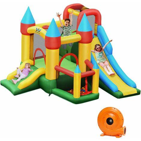 """main image of """"COSTWAY Castillo Inflable para Niños con Compresor 780 W 2 Toboganes Área para Saltar, Piscina con Pelotas, Canasta de Baloncesto, Palitos, Kit de Reparación, 60 Pelotas"""""""