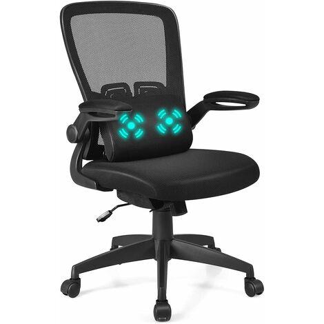 COSTWAY Chaise de Bureau avec Accoudoirs Rembourrés Relevable et Coussin de Massage Support Lombaire Réglable Pivotante Noir Charge 120KG (Noir)