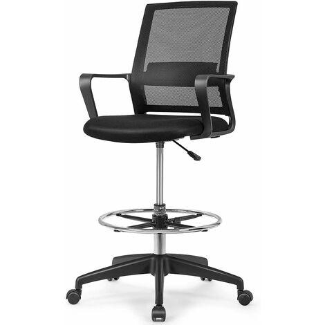 COSTWAY Chaise de Bureau Pivotante avec Repose-Pieds,Accoudoirs,Soutien Lombaire Réglable en Hauteur 103-122CM Capacité de Charge 120KG