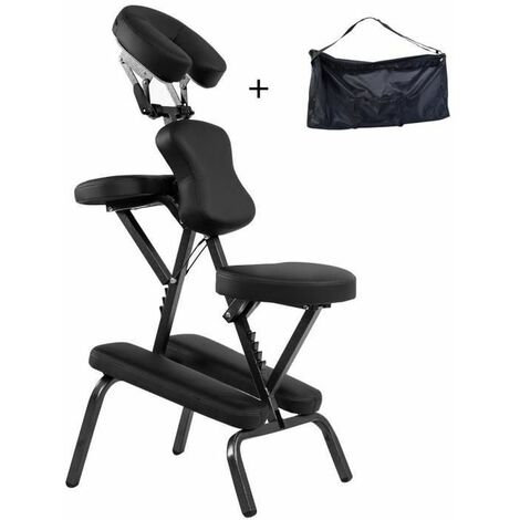 COSTWAY Chaise de Massage Professionnel Portable avec Sac de Transport Hauteur Réglable 110-120CM Chaise pour Spa/Tatouage Ergonomique Noir