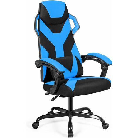 COSTWAY Chaise Gamer Massage- Inclinable à 90°-135° Racing Chaise Gamer Roulant Pivotant Hauteur Réglable Bleu