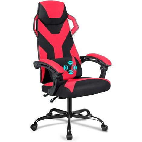COSTWAY Chaise Gamer Massage- Inclinable à 90°-135° Racing Chaise Gamer Roulant Pivotant Hauteur Réglable Rouge