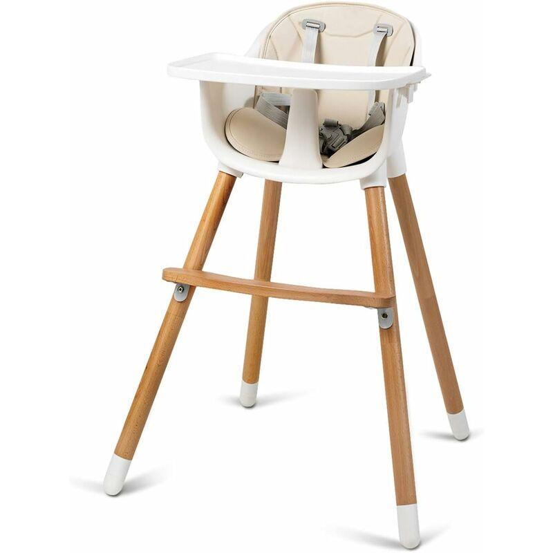 Chaise Haute Bébé Convertible2 en 1 Forme-A Stable HauteurRéglable avec Coussin Amovible,Repose-Pieds et Plateau pour Bébé 6 Mois-3Ans Charge 15KG