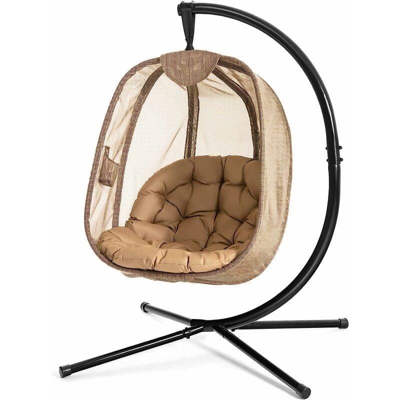 COSTWAY Chaise Suspendue avec Support avec Grand Coussin Confortable, Support en Acier?Base en X Stable Charge max.: 110 kg